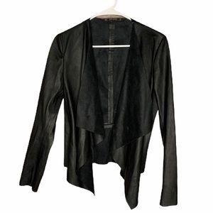 Zara Vegan Faux Leather Blazer Jacket XS Black